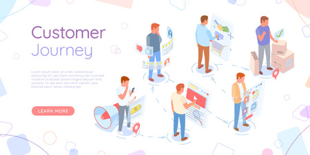 Ilustración de Screen with video sign vector, customer journey website with text and buttons. Social media, engagement in marketing and trade infographics monitor - Imagen libre de derechos