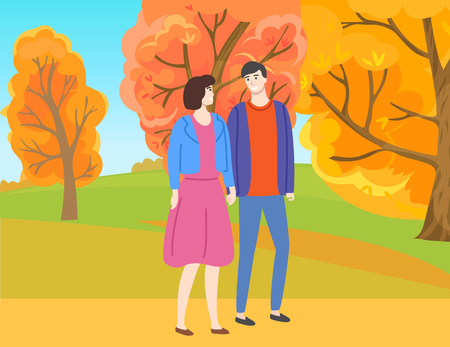 Illustrazione per Man and woman walking in autumn park among yellow and orange trees. Vector couple in casual cloth spend time together outdoors. People in love and fall season - Immagini Royalty Free