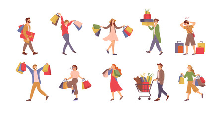 Illustration for Walking people with bags vector, shopping man and woman holding packages with presents. - Royalty Free Image