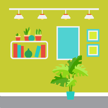 Illustrazione per Room decor vector, shelves with printed books and house plants. - Immagini Royalty Free