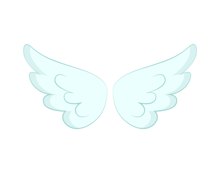 Illustration for Valentines day or Christmas decor, angel wings of white feather vector. Flight and cupid or butterfly accessory, holy spirit, fantastic or mythical creature detail - Royalty Free Image
