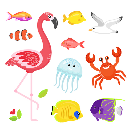 Illustration pour Fish different types set vector, flamingo pink bird with jellyfish. Crab and seagull, flower and flora foliage of exotic area. Jellyfish and crayfish - image libre de droit