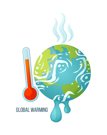 Illustration pour Global warming vector, dangerous process of melting, suffering planet with thermometer and red scale, vapours coming from earth surface, problems ecology. Concept for Earth day - image libre de droit