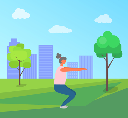 Ilustración de Fitness woman vector, lady in green park of city, squats exercises. Person wearing clothes, town with skyscrapers. Working out and stretching female - Imagen libre de derechos
