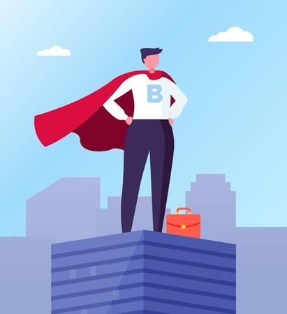 Ilustración de Business hero, leader in superhero cloak on top of skyscraper in city center. Vector businessman with red briefcase, superhuman big boss, commercial director - Imagen libre de derechos