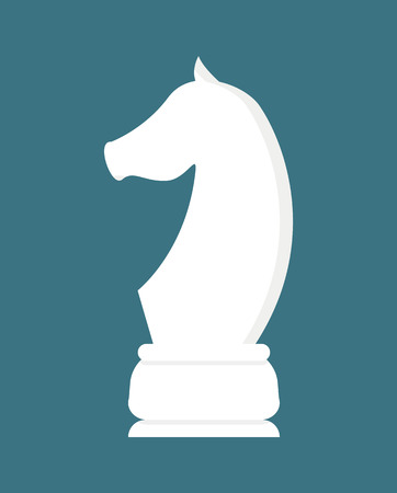 Illustration for Chess horse white piece isolated on blue. Vector strategy and challenge concept, pawn in flat style. Stallion or equine in table game logo, playing competition - Royalty Free Image