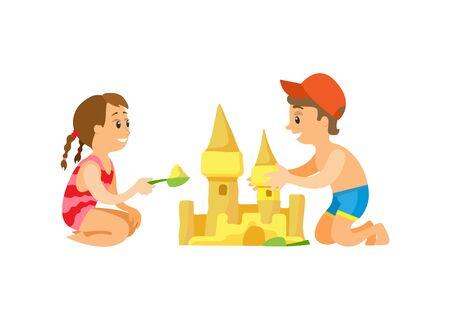 Illustration pour Summer beach, children building sand castle vector. Girl and boy in swimwear, vacation on seaside, construction with plastic scoops, isolated characters - image libre de droit