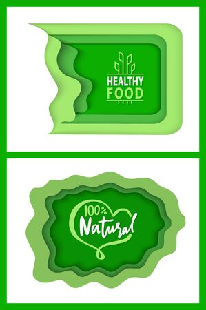 Ilustración de Organic food and supplies vector, isolated set of green , foliage vegetable elements, apple and plants with leaves natural meal and ingredients - Imagen libre de derechos