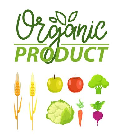 Ilustración de Organic product vector, natural production apples and broccoli, wheat crops and cabbage, carrots and beetroot, clean food meal, floral logotype set - Imagen libre de derechos