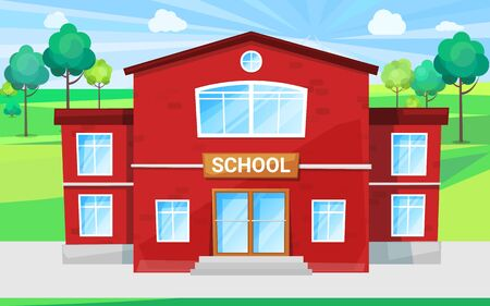 Illustration pour Big school with green territory schoolyard for outdoor lessons and playing games. Red building for primary and secondary education, study for children vector. Back to school concept. Flat cartoon - image libre de droit