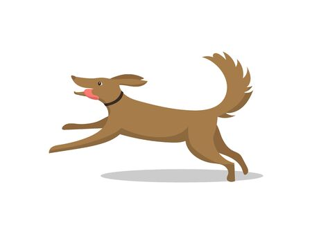 Illustration pour Pet dog running breed with tongue isolated vector. Mammal wearing collar on neck, happy and friendly animal. Domestic mammal on walk, active puppy - image libre de droit
