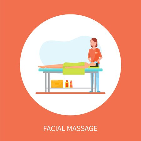 Illustration pour Facial medical massage session cartoon banner isolated vector in circle. Masseuse in uniform and rubber gloves massaging face of client lying on table - image libre de droit