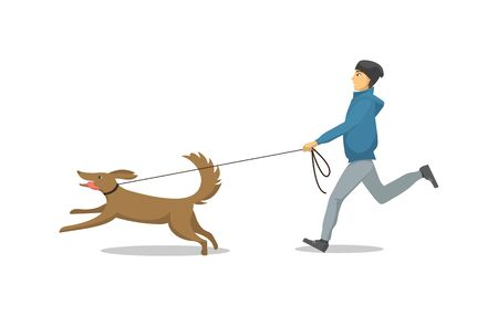 Illustrazione per Pet dog and its owner running same direction isolated vector. Male and mammal with collar on neck, person with domestic animal breed jogging together - Immagini Royalty Free