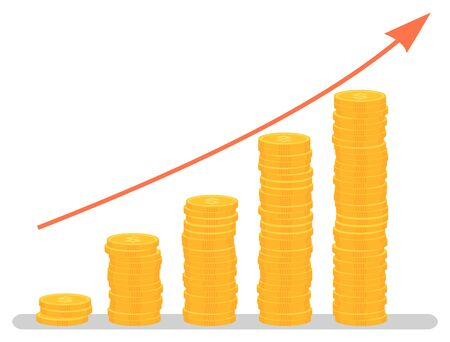 Ilustración de Profit increase graph, investment growth graphic. Coins stack and arrow, business and finance, development chart, banking and economy, statistics. Vector illustration in flat cartoon style - Imagen libre de derechos