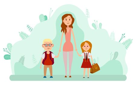 Illustration for Mother and two happy kids with backpacks isolated on backdrop with green leaves. Back to school, children come to study in kindergarten or elementary. Vector illustration in flat cartoon style - Royalty Free Image