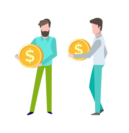 Ilustración de Person with finance assets, gold coin in hands of client of bank, deposit and savings, money capital, salary and business success giving profit. Vector illustration in flat cartoon style - Imagen libre de derechos