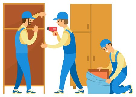 Illustration pour Men in uniform unpacking things. People move to new house or flat. Loaders help in moving. Stepladder and wardrobes, carton boxes vector illustration in flat cartoon style - image libre de droit