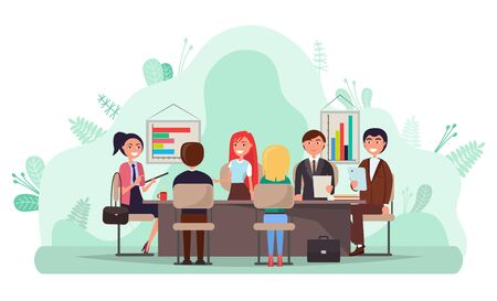 Illustrazione per Business conference vector, people sitting by table discussing project problems. Workers finding solution, brainstorming man and woman with charts - Immagini Royalty Free