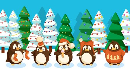 Illustration for Winter landscape with penguins. Birds set wearing warm knitted clothes on woods with spruce and pine. Trees decorated with baubles and garlands. Christmas holidays celebrated in wildlife greeting card - Royalty Free Image
