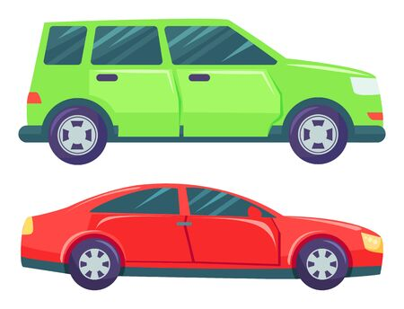 Illustrazione per Two cars isolated on white background. Green large minivan or multi purpose vehicle. Red small hatchback or sedan. Auto to drive and get your destination quickly. Vector illustration in flat style - Immagini Royalty Free