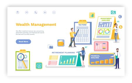 Ilustración de Wealth management vector, man signing tax form, investment and financial statistics and data on accounts, people working in banking sphere.Website or webpage template, landing page flat style - Imagen libre de derechos