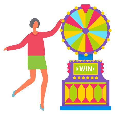 Illustration for Young girl with short dark hair in pink shirt and green skirt spinning colorful roulette wheel. Beautiful female casino worker, dealer, gambling vector. Machine for gambling and winning money - Royalty Free Image