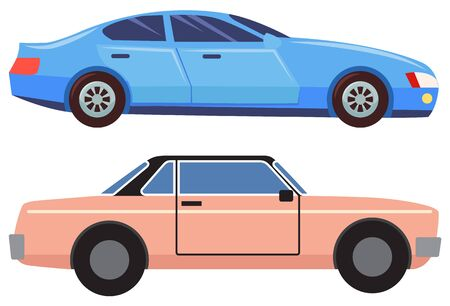 Illustrazione per Two cars isolated on white background. Blue sedan with dark glasses. Pink small and old vehicle cabriolet. Auto to drive and get your destination quickly. Vector illustration in flat cartoon style - Immagini Royalty Free