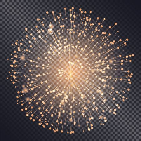 Ilustración de Firework sparkling with lights isolated on transparent background. Explosion for festival or festive moods. New Year celebration of holidays. Bright and shiny decoration. Vector in flat style - Imagen libre de derechos