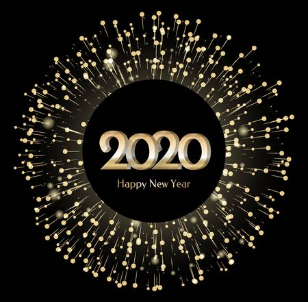 Ilustración de New Year 2020 banner with fireworks. Circle shape of greeting card with illuminated lights and brights. Festive decoration for christmas. Winter holidays congratulations. Vector in flat style - Imagen libre de derechos