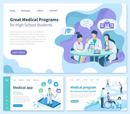 Illustration pour Medical program for recovery from injuries vector. Great High School students application, smartphone with possibilities. Medicine workers in gowns. Website or webpage template landing page flat style - image libre de droit