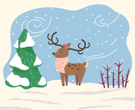 Illustration pour Cartoon character, deer stand on snowy ground in wood. North reindeer with large antlers and brown fur coat. Animal dressed in scarf because of windy and cold weather in winter. Vector illustration - image libre de droit