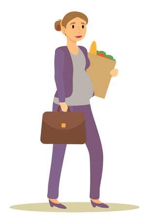 Ilustración de Future mom returning from work carrying products bought at groceries store. Pregnant businesswoman with briefcase and food in package. Isolated awaiting mother with suitcase, vector in flat style - Imagen libre de derechos