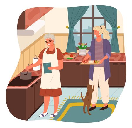 Illustrazione per Grandmother stand by stove and boil soup. Woman help mother with cooking and bring ingredients for meal. Cozy kitchen interior with kitchenware and tabletops. Vector illustration of cook process - Immagini Royalty Free