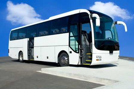 White Tour Bus with Both Doors Open