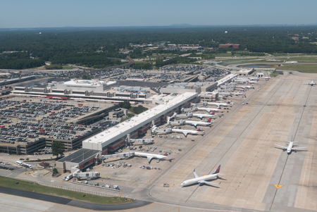 Photo for AtLANTA, GEORGIA-AUGUST 25, 2015: Aerial view of Hartsfield-Jackson Atlanta International Airport. Serving 89 million passengers a year, it is the world's busiest airport. - Royalty Free Image