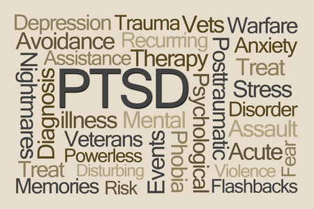 Foto de PTSD Word Cloud on Brown Background - Imagen libre de derechos