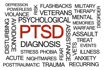 Foto de PTSD Word Cloud on White Background - Imagen libre de derechos