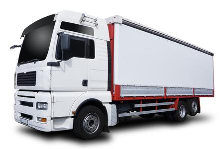 Photo pour Big White Truck Isolated on White Background - image libre de droit