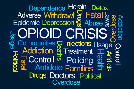 Foto de Opioid Crisis Word Cloud on White Background - Imagen libre de derechos