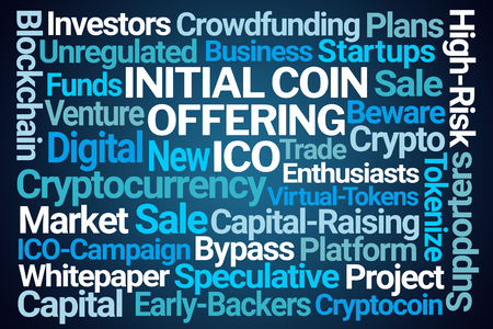 Photo for Initial Coin Offering Word Cloud on Blue Background - Royalty Free Image