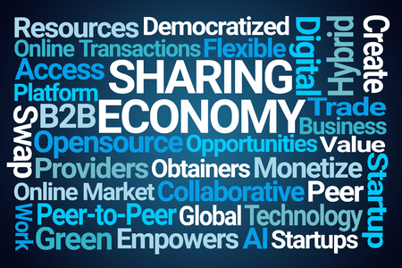 Photo for Sharing Economy Word Cloud on Blue Background - Royalty Free Image