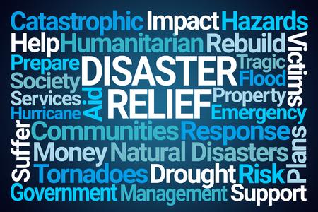 Photo pour Disaster Relief Word Cloud on Blue Background - image libre de droit