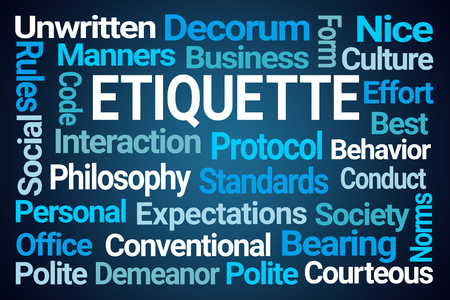Photo for Etiquette Word Cloud on Blue Background - Royalty Free Image