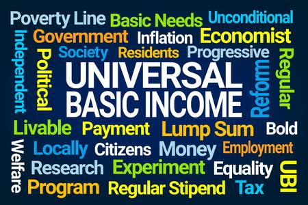 Photo pour Universal Basic Income Word Cloud on Blue Background - image libre de droit