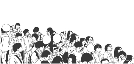 Illustration pour Illustration of peaceful asian crowd protest with children and blank balloons - image libre de droit