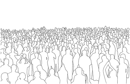Illustration pour Illustration of large mass of people in perspective - image libre de droit