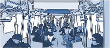 Illustration pour Illustration of people inside the train. - image libre de droit