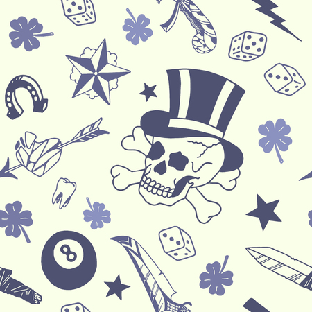 Illustration for Traditional tattoo designs pattern in vintage illustration. - Royalty Free Image