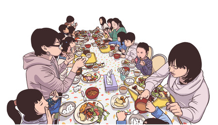 Illustration for Illustration of young mothers and children enjoying a meal - Royalty Free Image