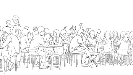 Illustration pour Illustration of people drinking and eating asian street food - image libre de droit
